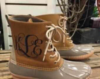 Gray Monogrammed Duck Boots