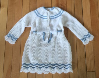 Vintage 1980s Baby Infant Girls White Knit Dress! Size 12 months