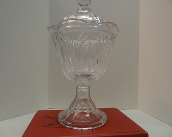 Heavy Glass Covered Compote Candy Footed Pedestal Bowl