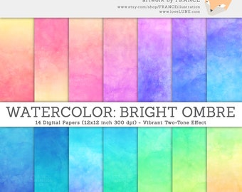 GET 3 FOR 2. Watercolor Digital Paper. Bright Ombre Watercolor Texture. Pink Watercolor, Blue Background Texture, DIY Craft for Invitations.