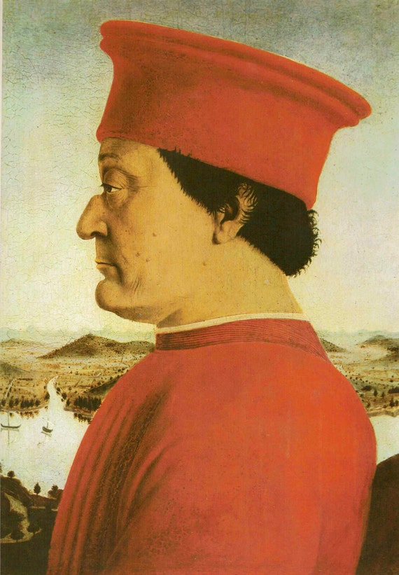 Vintage 1966 print of Count of Urbino, painted by Piero Della Francesca in 15th century, beautiful details, matted & mounted, 11 x 14 inches