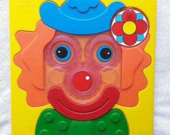 80s Vulli Children Game Made in France Colorful Clown Puzzle