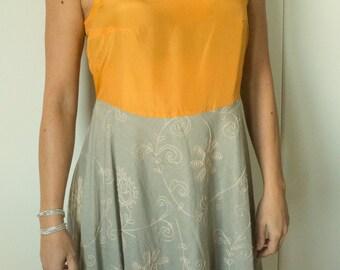 Sleeveless silk and cotton dress