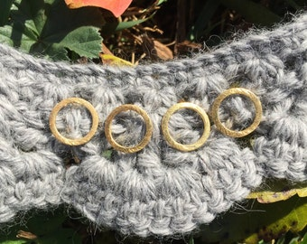 Stitch Markers for Knitters - Brushed Gold Vermeil - Four Rings // Use on 7mm Knitting Needles or Smaller