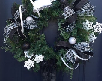 Elf Christmas Wreath For Front Door, Elf Christmas Decor, Black White Christmas, Whimsical Christmas Wreath, Holiday Wreath For Front Door