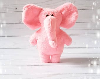 Pink plush Elephant, stuffed animal toy, plush elephant, soft elephant, baby plush toy
