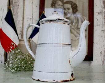 Antique French White Enamel Coffee Pot