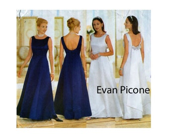 EVAN PICONE, Gown Sewing Pattern, Butterick 5875, Evening Gown, Princess Seam, Open Back, Train / Drape, Fit Flare Dress, Size 6-8-10, UNCUT