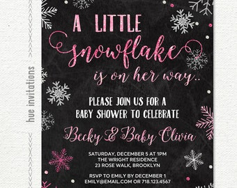 little snowflake baby shower invitation for girl, pink silver glitter chalkboard, baby it's cold outside shower invite, printable file