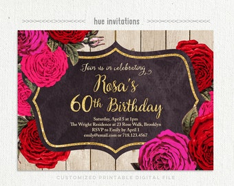 rustic 60th birthday invitations for women, rose birthday invitation, floral birthday invitation, gold glitter red pink woodgrain printable