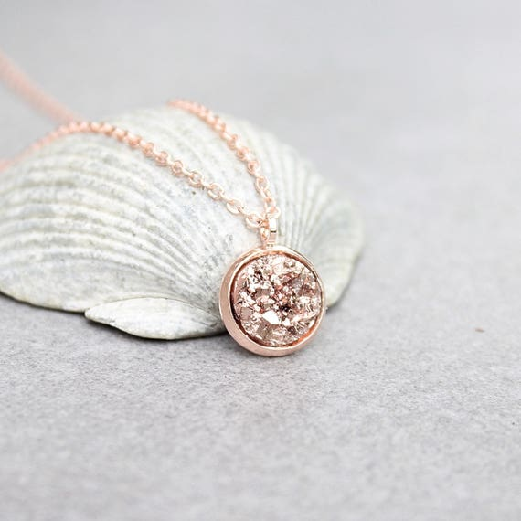 Rose gold druzy necklace rose gold necklace faux druzy like this item mozeypictures Image collections