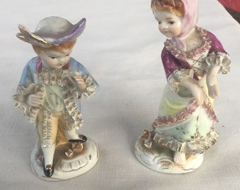 VINTAGE Pair boy girl Colonial porcelain figurines Made in Japan