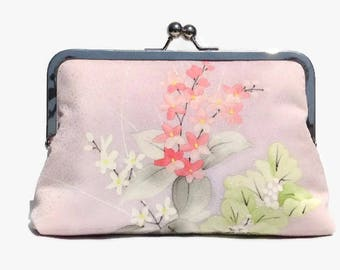 Silk Clutch Purse, Bridal Purse, Japanese Silk Purse, Floral Clutch Purse, Bridesmaid Clutch, Pink Bridal Purse, Kiss Lock Purse, Bridal Bag