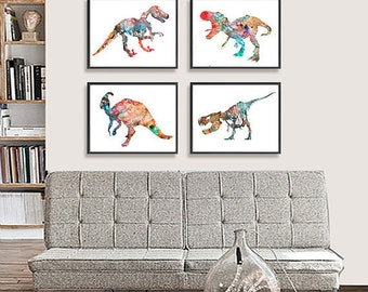 Dinosaur Art Print - Kids Wall Decor - Children Art - Set of 4 prints - S6