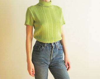 90s Chartreuse Rib Knit Turteneck Top Medium Large