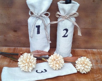 Wine Bags - Burlap Wine Bags - Numbered Wine Bottle bags - Wine Cozy - Ivory Burlap wine bag - Wedding wine bag - Wedding Decor  - Set of 8