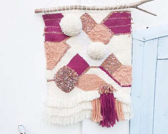 Great Wall weaving graphic - white pink - cotton-wool deco