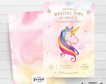 Magical Unicorn - Unicorn Birthday - Unicorn Invitation - Girl 1st Birthday - Unicorn Party - Unicorn Theme - Magical Birthday - Unicorn