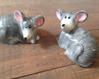 Kitchen Mouse Salt and Pepper Shakers, Mouse Salt and Pepper Shakers, Collectible Kitchen, Grey Mouse