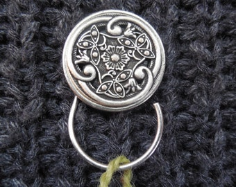Silver Garden Knitting Pin, Portuguese Knitting Pin, Magnetic Knitting Pin, Knitting Hook, Handmade Knitting Pin