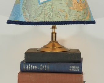 OOAK Book Lamp with Map Lampshade