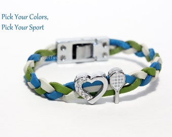 Ladies' Girls' Tennis Bracelet jewelry, tennis gift tennis fan, customized tennis gift, braided leather, pick size colors, Christmas gift