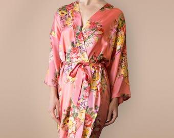 Coral robes, Coral bridesmaid robes, coral bridesmaid dress, coral wedding dress