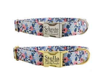 Colorful Floral Personalized Laser Engraved Metal Buckle Dog Collar - Choose from Gold Or Nickel Finish- 2-3 Week Ship Time