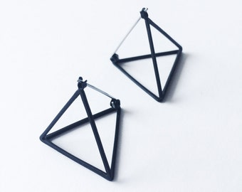 3D Triangular Pyramid Earrings - Matte Black earrings - Geometric earrings - Minimalist earrings - Pyramid earrings - Unisex earrings