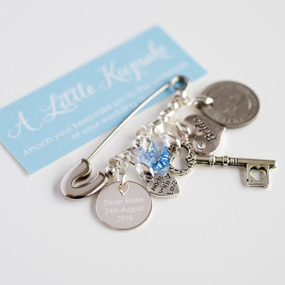 Bridal Pin, Something Old, New, Borrowed, Blue Wedding Pin, Bridal Gift, The Perfect Bride Gift, Genuine Old Sixpence,