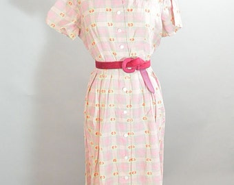 50s House Dress// Rockabilly Dress// Pink Plaid 50s Dress// Mad Men Dress L/XL