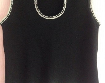 Vintage 1970s Ladies Sleeveless Sweater, Pullover, Jumper, Tank Top, Vest. Disco style! Black with silver lurex.