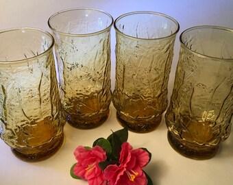 "Set of four Anchor Hocking ""Rainflower"" amber textured tumbler glasses"