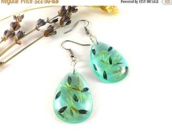 SALE 20% OFF Blue earrings Real flower earrings Blue drops Sky blue earrings Pressed flowers Terrarium earrings eal flower jewelry Nature ea