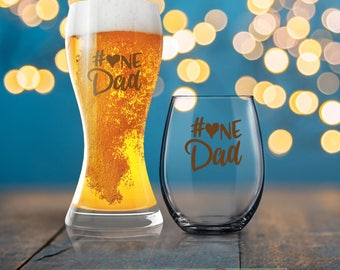 Number One Dad, #1 Dad, Dad Beer Glass, Beverage Cold Brew Father, Dad Wine Glass, Cool Dad, Dad Mug, Father Coffee