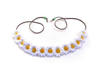 The Loose Lucy flower crown in white, Coachella flower crown with white daisies, hippie flower headband OR hat band!