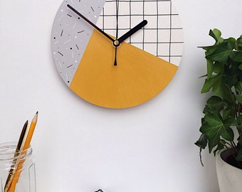 Hand painted wall clock | mustard yellow, grey and white | contemporary grid pattern | modern home decor | wedding gift