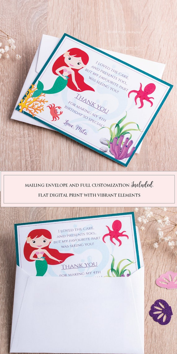 Mermaid Thank You Cards Mermaid Party Favors Little Mermaid Birthday Party Invite Under the Sea Party Invitation