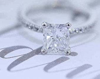 Diamond Engagement Ring 18K White Solid Gold 3.30 Carat Radiant Cut  #J72447 FREE SHIPPING
