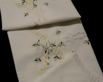 Vintage handmade small tablecloth or table topper -- white with hand-embroidered lily-of-the-valley and cutwork-- 33x32 inches / 84x81 cm