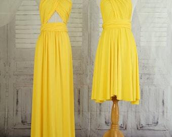 Sweet heart Wrap Convertible Infinity Dress Evening Dresses   Yellow Bridesmaid Dress-B14#C14#