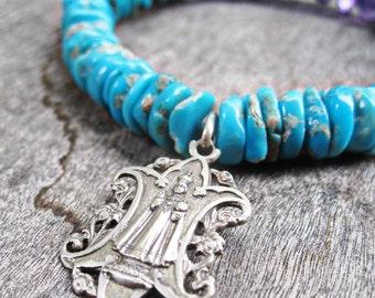 Infant of Prague, American Turquoise and Purple Amethyst, Gemstone Stretch Bracelet, Ornate Antique Catholic Medal, Jesus Christ, Sterling