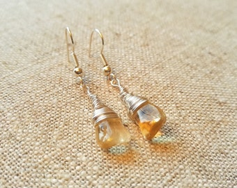Beautiful Citrine Wire Wrapped Earrings - November birthstone