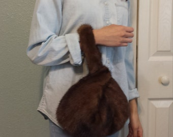New handmade dark brown mink wristlet, real fur, recycled mink, Japanese knot, wedding pouch, unique, gift idea, timeless