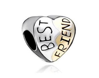 Best Friend Bead, BFF Charm, Large Hole Bead, European Bead, Charm Bead, Add a Bead, Charm Bracelet, European Charm, Big Hole Bead, Gold