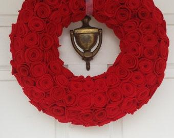 Red Rose Wreath, Red Wreath, Rose Wreath, Holiday Wreath, Year Round Wreath