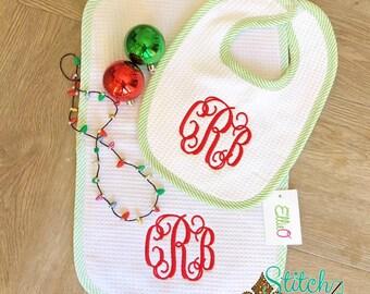 SHIPS FAST!!  Seersucker Infant Gown, Bib & Burp Cloth