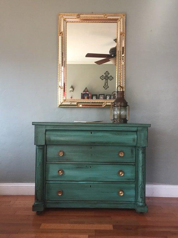 marked down petite antique buffet server teal. Black Bedroom Furniture Sets. Home Design Ideas
