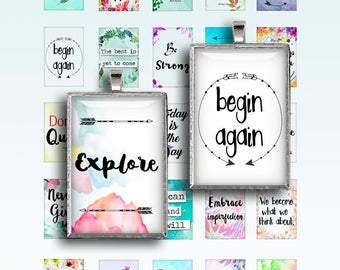 Inspirational Quotes 1x1.5 inch Boho 25x35mm Digital Collage Sheet Printable images for Pendant trays Glass cabochons Instant Download