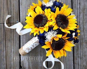 Navy Sunflower Bouquet, Navy Blue Bouquet, Sunflower Bouquet, Rustic Sunflower Bouquet
